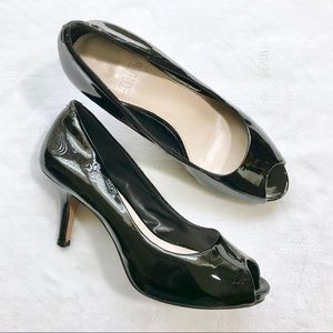 Vince Camuto | Black Patent Leather Peep Toe Pumps